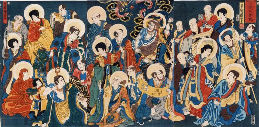 Kuniyoshi - (triptych) Buddha's 16 Deciples with Actor's Expressions, 1852