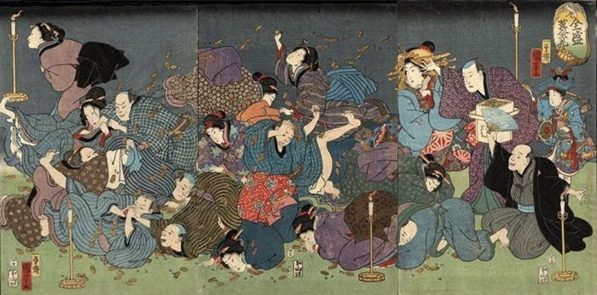 Kuniyoshi - (triptych) 1858  The game of throwing money